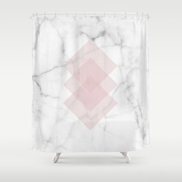 White Marble Scandinavian Geometric Blush Pink Squares Shower Curtain