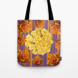 YELLOW ROSES PUCE STRIPE PATTERN Tote Bag