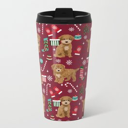 Bichpoo christmas dog breed holidays pet gifts pet friendly stockings candy canes snowflakes Metal Travel Mug