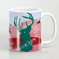 merry christmas Mugs featuring merry christmas by mark ashkenazi