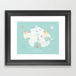 Neverland Map - Full Color Framed Art Print
