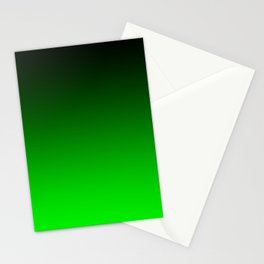 Black Lime Green Neon Nights Ombre Stationery Cards