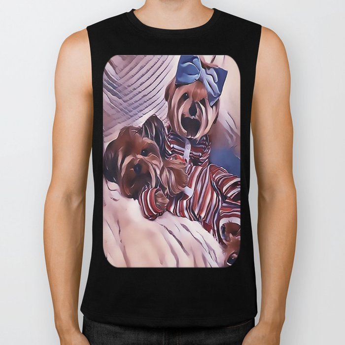 2 Yorkies Getting Ready For Bed Biker Tank