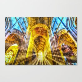 Bath Abbey Sun Rays Art Canvas Print
