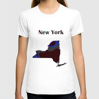 new york map T-shirts featuring New York Map by Roger Wedegis