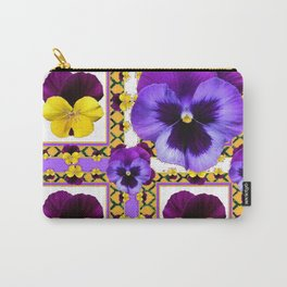 ASYMMETRICAL SPRING PURPLE & YELLOW PANSIES  ART Carry-All Pouch
