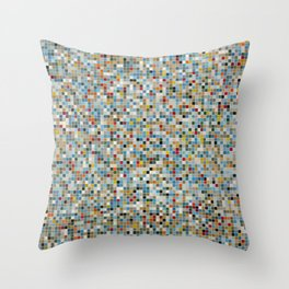 Square Mosaic Multi-coloured Tile Pattern (Vector Illustration) Throw Pillow