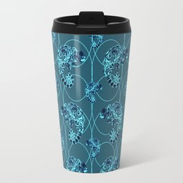 Chameleon Oneness in Midnight Vintage Psychedelic Blue Space Travel Mug