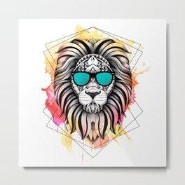 Ornate Watercolor Lion Metal Print