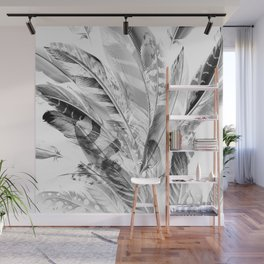 Cosmic Feathers Black and White Wall Mural
