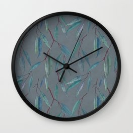 Eucalyptus leaves on grey Wall Clock