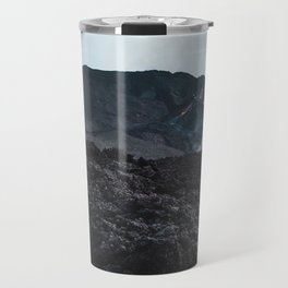 Epic view up the black charred volcanic rock and lava of Pacaya, an active volcano in Guatemala Travel Mug
