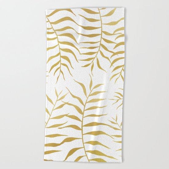 Gold palm leaves Beach Towel