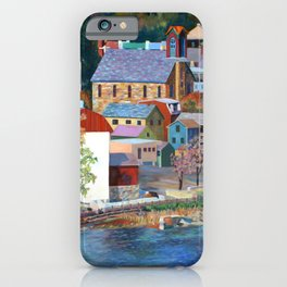 Autumn in New Hope on the Delaware, Bucks County, Pennsylvania. From oil painting by Pamela Parsons. iPhone Case