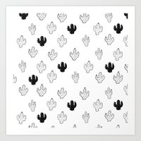 CACTUSES - 3D , black and white Art Print