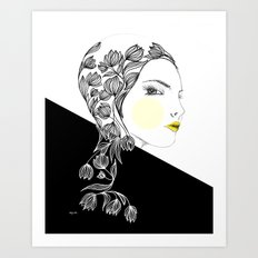 yellow kiss Art Print