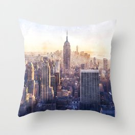 New York City Watercolor Skyline Throw Pillow