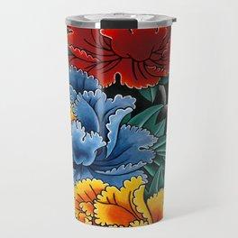 Japanese tattoo style Peonies  Travel Mug