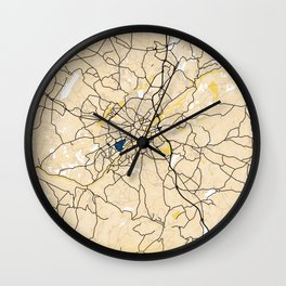 Limoges Yellow City Map Wall Clock