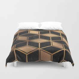 Charcoal and Gold - Geometric Textured Cube Design II Duvet Cover