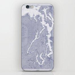 Puget Sound Washington State Nautical Chart Map Print 1956 Blue, Map Art Prints iPhone Skin