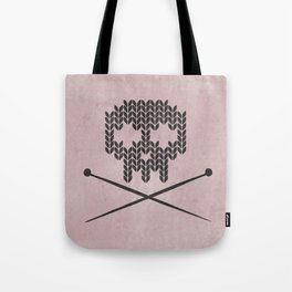 Knitted Skull / Knitting with Attitude (Black on antique rose colour) Tote Bag