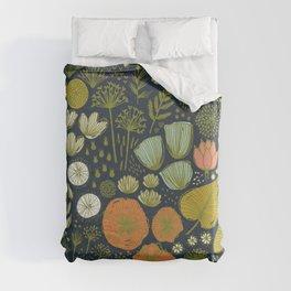 Botanical Sketchbook M+M Navy by Friztin Duvet Cover