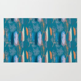 Feather Pattern in Blue Rug