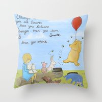 winnie the pooh Throw Pillows featuring Winnie the Pooh by Marilyn Rose Ortega
