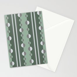Circles and Stripes Geometric Pattern in Green and Gray Stationery Cards
