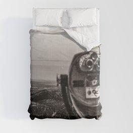 Mountain Tourist Binoculars Black and White Comforters