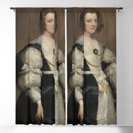 Lady with a Fan Oil Painting by Sir Anthony van Dyck Blackout Curtain