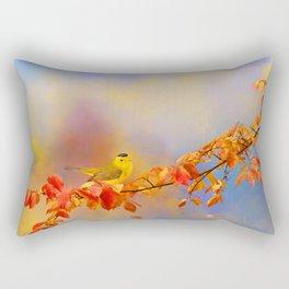 Wilson's Warbler  on a Fall Branch Rectangular Pillow