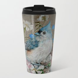 Blue Titmouse and Bee with floral still life Metal Travel Mug