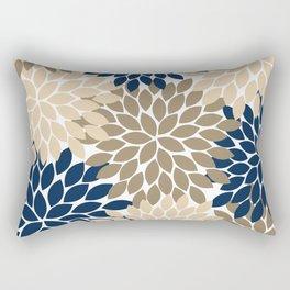 Navy Tan Beige Flower Burst, Flower Petals, Floral Pattern Rectangular Pillow