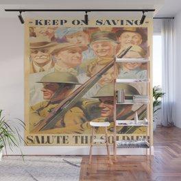 Keep on Saving. Reprint of British wartime poster. Wall Mural