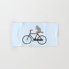 Raccoon Riding Bike Hand & Bath Towel