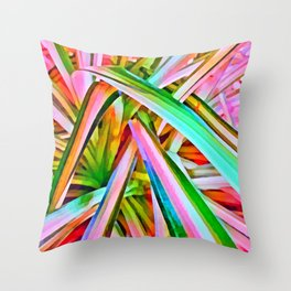 Pastel Spider Plant Leaves Throw Pillow