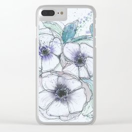 Anemone bouquet illustration watercolor and black ink painting Clear iPhone Case