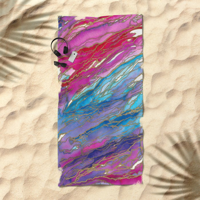 AGATE MAGIC PinkAqua Red Lavender, Marble Geode Natural Stone Inspired Watercolor Abstract Painting Beach Towel