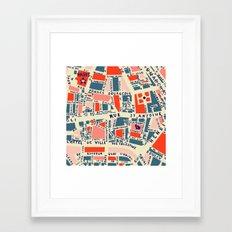 paris map blue Framed Art Print