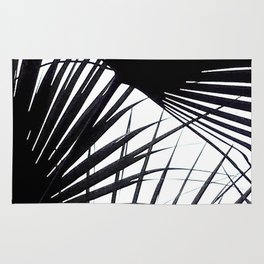 Black and White Tropical Leaves Rug
