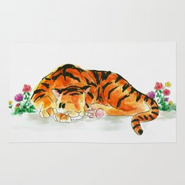 Sleeping tiger watercolor Rug