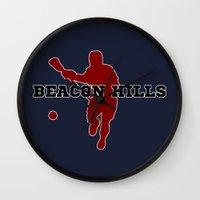 lacrosse Wall Clocks featuring Beacon Hills Lacrosse by Keyweegirlie