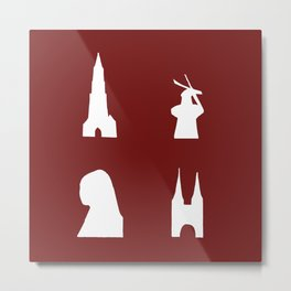 Delft silhouette on red Metal Print