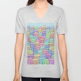 Terraced Town Unisex V-Neck