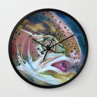 trout Wall Clocks featuring Rainbow trout by Shana Smith Artwork