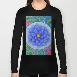 Violet Flower Mandala Long Sleeve T-shirt