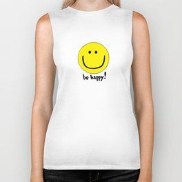 Be Happy Smiley Face Biker Tank