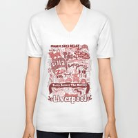 liverpool V-neck T-shirts featuring Liverpool by leeann walker illustration